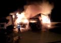 Un autobuz a luat foc în Piteşti