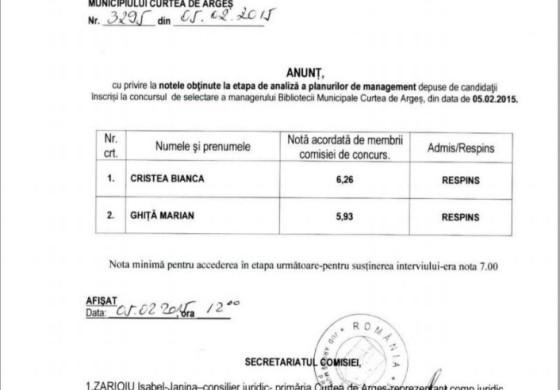 Halal pregătire -Managerul bibliotecii a luat nota 5,93 la examenul pentru post