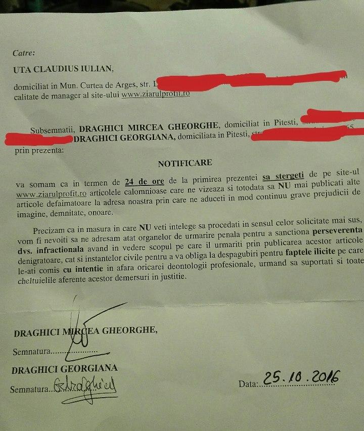 Omul lui Ponta, fost consilier al premierului si trezorier al PSD, solicita in acest mod ziarului eliminarea din arhiva a tuturor materialelor publicate. La Tribunalul Arges deputaul PSD Mircea Draghici, a chemat in judecata angajati ai companiei care editeaza ziarul.