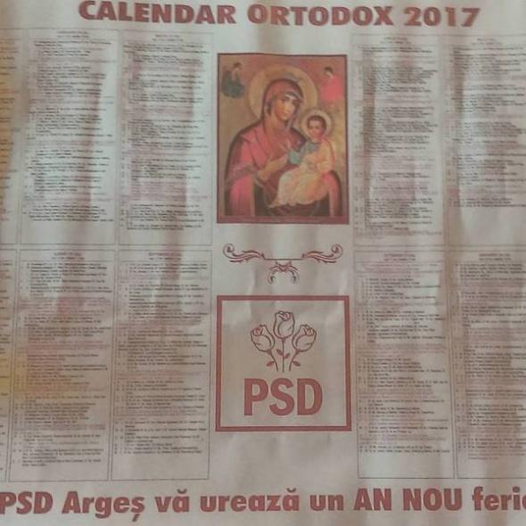 AU FENTAT ŞI BISERICA ! PSD a împărţit Calendare Ortodoxe 2017 cu sigla PSD alaturi de Fecioara Maria