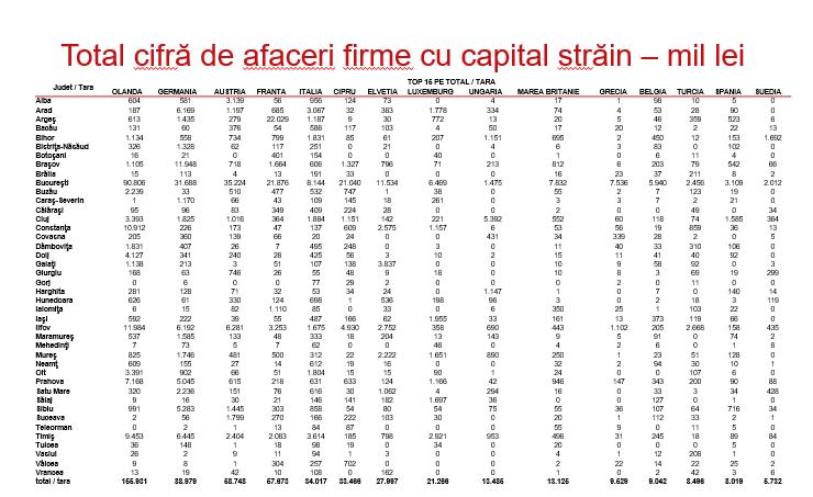 Total cifră de afaceri firme cu capital străin