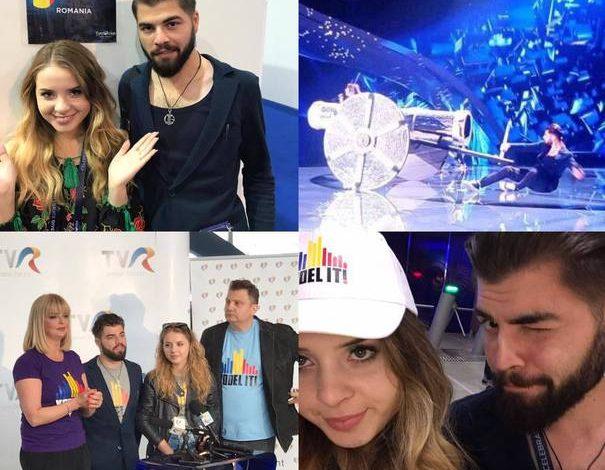 Eurovision 2017: Reprezentanţii României, Ilinca şi Alex Florea, accidentare pe scenă, la prima repetiţie de la Kiev