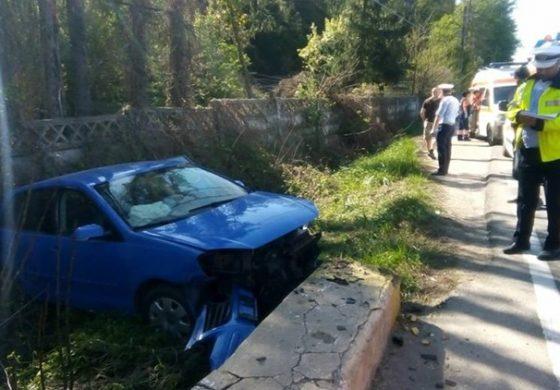 ACUM! Accident in Arges- A intrat intr-un cap de pod