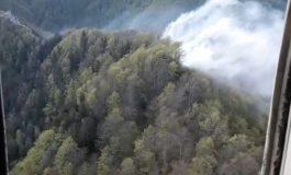 VIDEO IMAGINI DIN ELICOPTER - Acum, incendiul de la cetatea Poienari e sub control