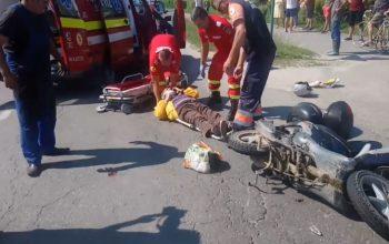 VIDEO ACUM ! Accident grav in Curtea de Argeş cu 2 victime si un scuter