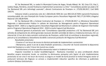 COMUNICAT DE PRESĂ - SC YAC BESTWOOD SRL