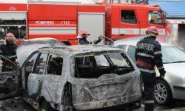 ACUM! Autoturism în flăcări in Argeș