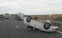 ACUM! Accident în Argeș, autoturim răsturnat