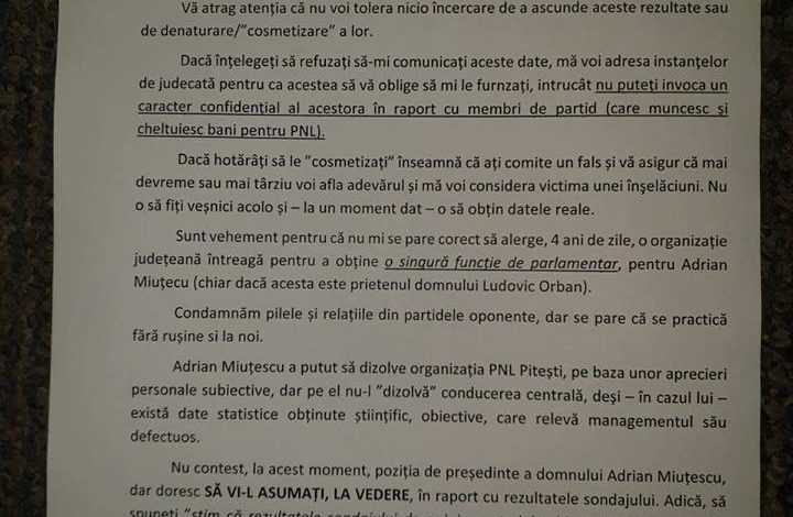 DOCUMENT EXCLUSIV ! Ludovic Orban amenintat cu judecata de un liberal ! Seful PNL Argeş, criticat dur