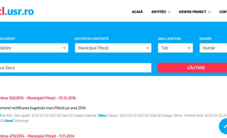 USR a lansat un instrument util pentru piteşteni ! Acesta permite căutarea şi vizualizarea rapidă a documentelor oficiale ale Primăriei
