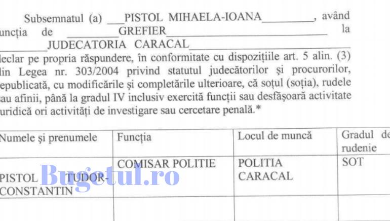 EXCLUSIV Document. Soția polițistului Constantin Pistol, ultimul om care a vorbit cu Alexandra, lucrează la Judecătoria Caracal