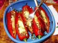 Portofele de ardei kapia cu carne tocata, ciuperci si cascaval